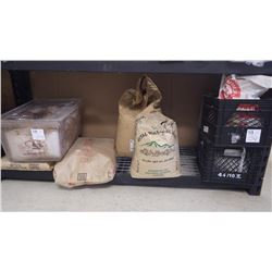 APPROX 1/2 BAG OF WHEAT GLUTEN, 3/4 BAG OF SLOW FLAKES, 20KG BAG OF STRONG BAKERS FLOUR, APPROX 1/2