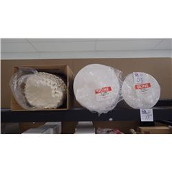 """APPROX 100 ROUND 10"""" CAKE PADS, APPROX 80 12"""" CAKE PADS, BOX OF LARGE BUNN FILTERS."""