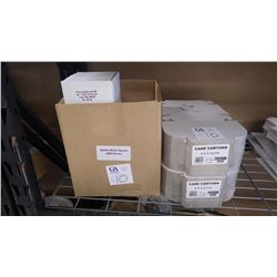 TWO CARTONS OF 5 X 5 CAKE BOXES UNOPENED 500 PCS, 7 BOXES OF PIZZI APOLLO SQUARE GOLDEN PADS APPROX