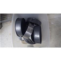 PLASTIC BIN OF ROUND TEFLON CAKE PANS