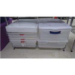 APPROX 6 RUBBER MADE STORAGE BINS WITH LIDS