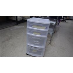 RUBBER MADE 4 DRAWER STORAGE UNIT ON WHEELS