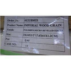 600 PCS 3X24 IMPERIAL WOODGRAIN TILE approx 300sq ft retail value 8370.00