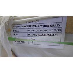 1200 PCS 3X12 IMPERIAL WOODGRAIN TILE approx 300sq ft retail value 9540.00