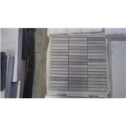 """Grey Woodridge Mosaic 4"""" x 5/8"""" - 12"""" x 12"""" sheets 20 boxes, 100 pieces approx 100sq ft retail value"""