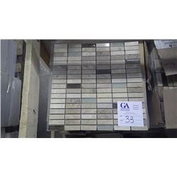 """BM#92 Travertine Mosaic- 14 boxes, 168 pieces 12"""" x 12"""" sheets approx 168sq ft retail value of 3519."""