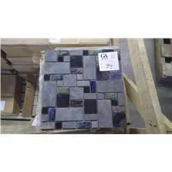 """BM#99 Black Slate Mosaic- 6 boxes, 72 pieces 12"""" x 12"""" sheets approx 72sq ft retail value of 1508.00"""