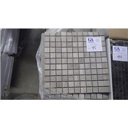 """White Woodridge 1"""" x 1""""- 14 boxes, 140 pieces 12"""" x 12"""" sheets approx 140 sq ft retail value of 2653"""