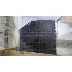 "Black Galaxy 1"" x 1"" Granite Mosaic- 11 boxes, 110 pieces 12"" x 12"" sheets approx 110sq ft retail vl"