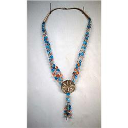 Pueblo Beaded Concho Necklace by Redhawk
