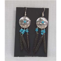 Navajo Sterling Turquoise & Obsidian Earrings