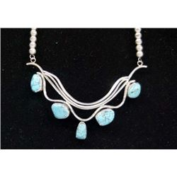 Navajo Silver Kingman Turquoise Necklace
