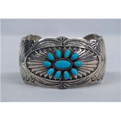 Navajo Sterling Turquoise Cuff Bracelet, R Wylie