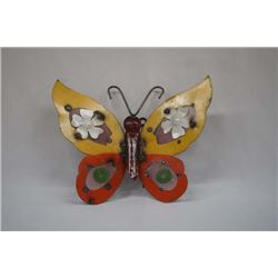 Mexican Hand Painted Metal Butterfly Yard Art