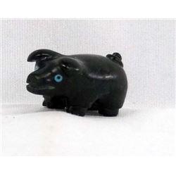 Zuni Hand Carved Black Marble Pig Fetish, D Booqua