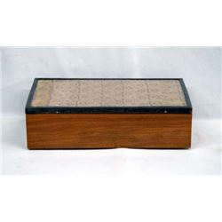 Handmade Wood Box with Framed Antique Textile Lid