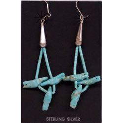 Zuni Sterling Turquoise Bird Fetish Earrings