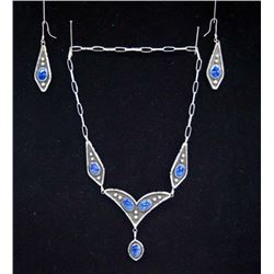 Navajo Sterling Lapis Lazuli Necklace & Earrings