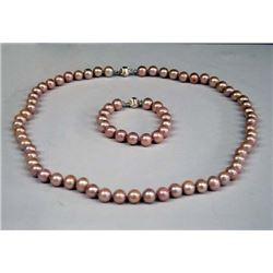 Large Pink Cultured Pearl Necklace & Bracelet