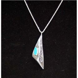 Navajo Sterling Silver Turquoise Pendant Necklace