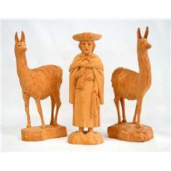 Set of 3 South American Wood Carvings