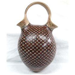 Mata Ortiz Polychrome Wedding Vase by Manuel Mora