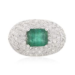 14KT White Gold 4.64 ctw Emerald and Diamond Ring