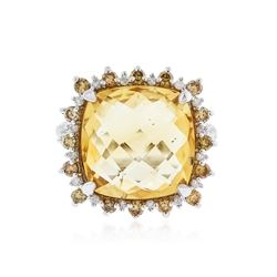 14KT White Gold 10.13 ctw Citrine and Diamond Ring