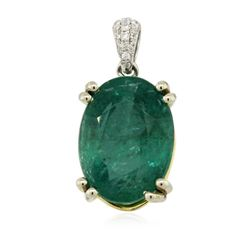 14KT Two-Tone Gold 6.80 ctw Emerald and Diamond Pendant