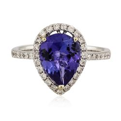 14KT White Gold 3.22 ctw Tanzanite and Diamond Ring