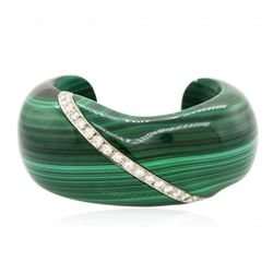 Malachite and 2.71 ctw Diamond Cuff Bracelet