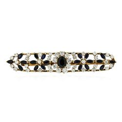 14KT Yellow Gold 8.39 ctw Sapphire and Diamond Tie Pin