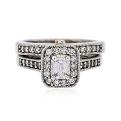 18KT-24KT Two-Tone Gold 0.85 ctw Diamond Ring Wedding Set