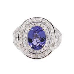 14KT White Gold 2.46 ctw Tanzanite and Diamond Ring