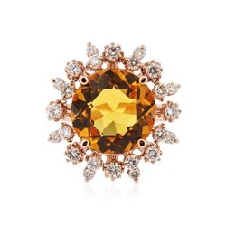 14KT Rose Gold 5.63 ctw Citrine and Diamond Ring