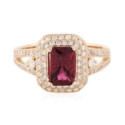 14KT Rose Gold 1.07 ctw Tourmaline and Diamond Ring