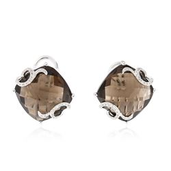 14KT White Gold 25.14 ctw Smokey Quartz and Diamond Earrings