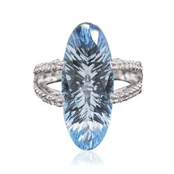 14KT White Gold 14.00 ctw Blue Topaz and Diamond Ring