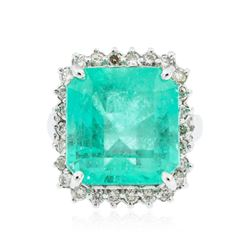 14KT White Gold 11.62 ctw Emerald and Diamond Ring