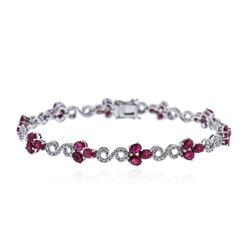 14KT White Gold 6.15 ctw Ruby and Diamond Bracelet