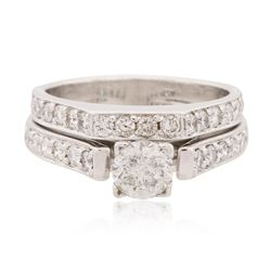 18KT White Gold 1.13 ctw Diamond Wedding Set