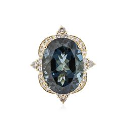 14KT Yellow Gold 17.39 ctw Topaz and Diamond Ring