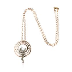 14KT Rose Gold 0.56 ctw Diamond Pendant With Chain