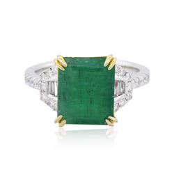 14KT Two-Tone Gold 3.94 ctw Emerald and Diamond Ring