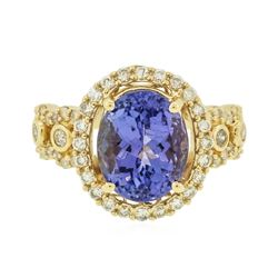 14KT Yellow Gold 3.79 ctw Tanzanite and Diamond Ring