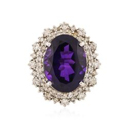 14KT White Gold 11.11 ctw Amethyst and Diamond Ring