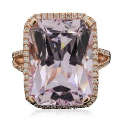 14KT Rose Gold 17.12 ctw Kunzite and Diamond Ring