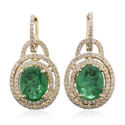 14KT Yellow Gold 5.84 ctw Emerald and Diamond Earrings