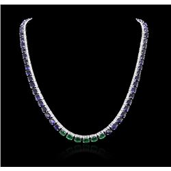 14KT White Gold 57.60 ctw Sapphire, Emerald and Diamond Necklace