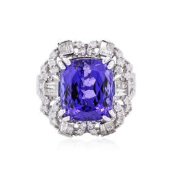 14KT White Gold GIA Certified 9.51 ctw Tanzanite and Diamond Ring